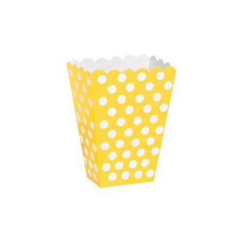 Pudełka na popcorn żółte w białe kropki - 8 szt. marki Unique