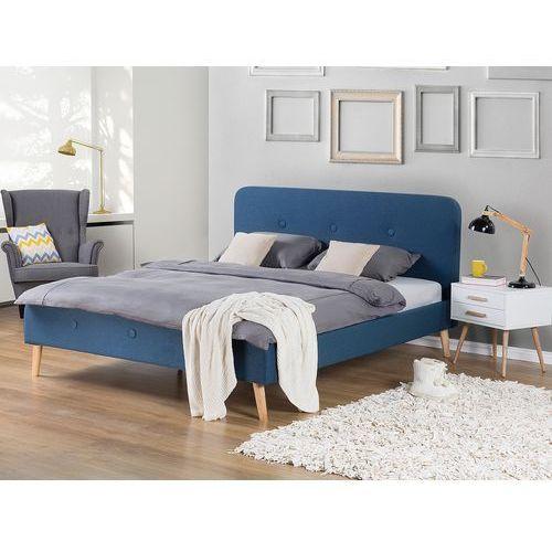 Łóżko granatowe - 180x200 cm - łóżko tapicerowane - RENNES