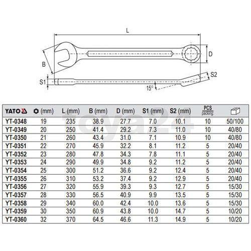 Klucz płasko-oczkowy z polerowaną główką 21 mm Yato YT-0350 - ZYSKAJ RABAT 30 ZŁ (5906083903502)