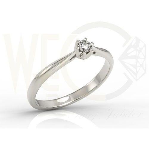 Pierścionek zaręczynowy z białego złota z brylantem ap-6610b - 0.1 ct marki Węc - twój jubiler
