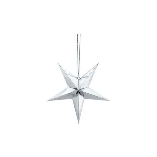 Dekoracja wisząca gwiazda papierowa srebrna - 30 cm (5902230747852)