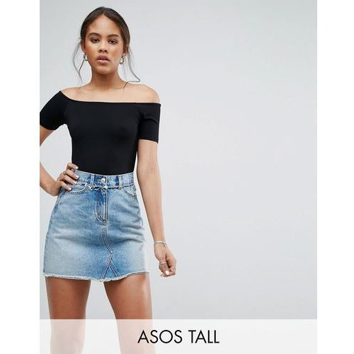 ASOS TALL Short Sleeve Off Shoulder Body In Longer Length - Black, kolor czarny