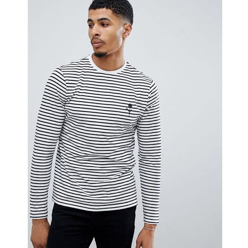 New Look long sleeve t-shirt with rose embroidery in white stripe - White, w 5 rozmiarach