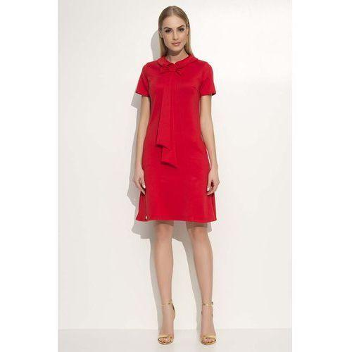 Czerwona Sukienka Trapezowa Midi z Kołnierzykiem i Krawatem, trapezowa