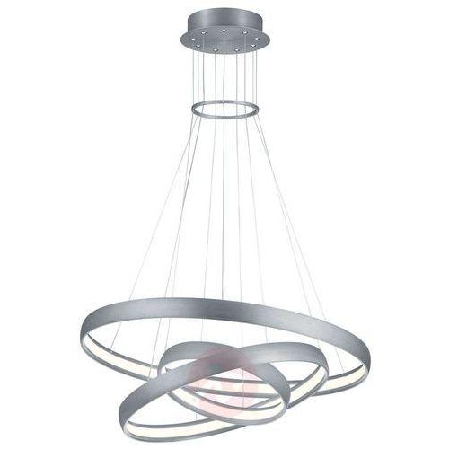 LAMPA wisząca MACAU 325610305 Trio futurystyczna OPRAWA zwis LED 64W pierścienie rings szczotkowane aluminium (4017807388022)