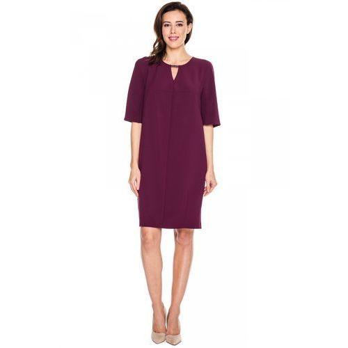 Fioletowa sukienka z ozdobnym zapięciem -  marki Vito vergelis