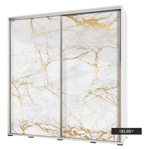 Selsey szafa przesuwna wenecja 205 cm biały marmur ze złotem (5900000071991)