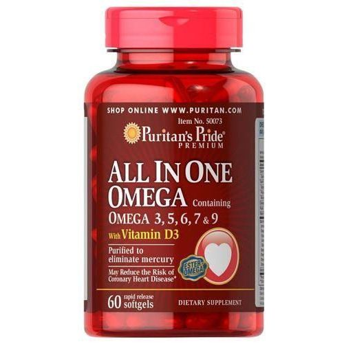 Puritan's Pride All In One Omega 3.5.6.7 & 9 With Vitamin D3 - 60soft gels