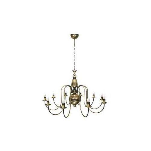 Lemir kandelabr 19_10 midi lampa wisząca zwis oprawa 10x60w e14 patyna (5907626648591)