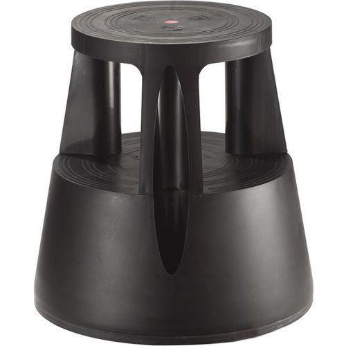 Twinco Taboret na kółkach z trwałego tworzywa, nośność 150 kg, czarny. z trwałego tworz