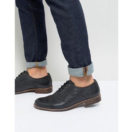 milled brogue in black leather - black, Silver street
