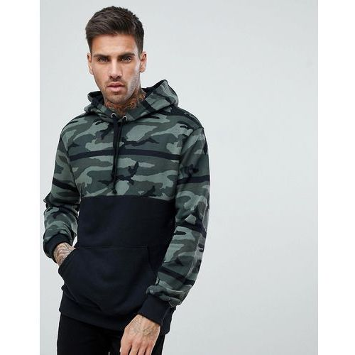 Pull&bear hoodie with camo colour block in khaki - green