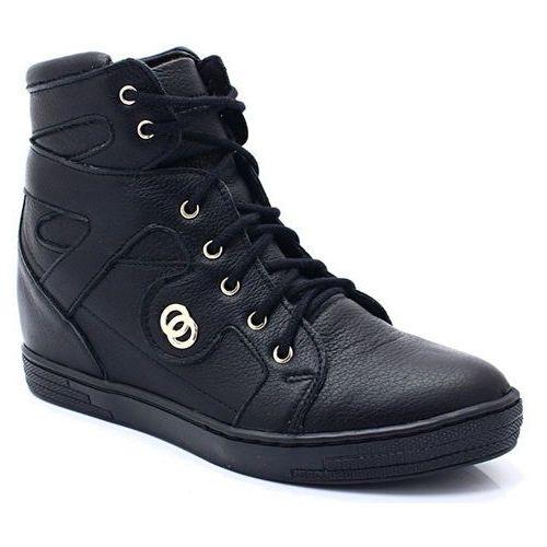 TYMOTEO 2627 CZARNE - Sneakersy na koturnie - Czarny