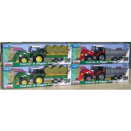 Traktor koparka z przyczepą rolniczą 1:32 zakupowy.pl