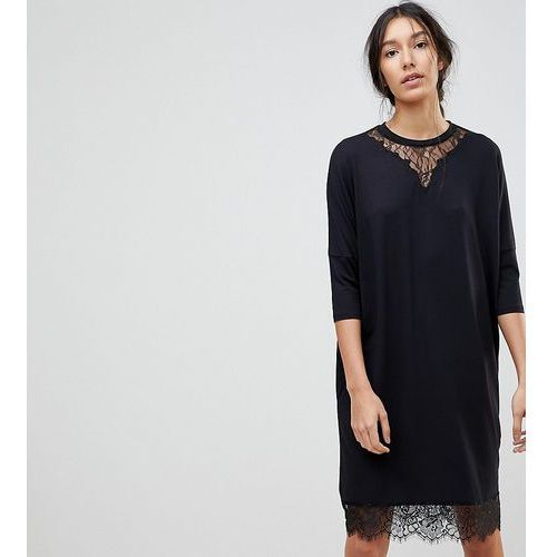 ASOS TALL Oversize T-Shirt Dress with Batwing Sleeve and Lace Inserts - Black, kolor czarny
