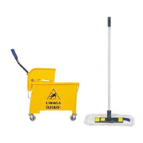 Clean Wózek do sprzątania jednowiaderkowy 20 l z mopem płaskim wiaderko na kółkach z mopem