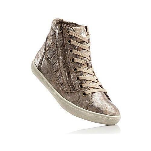 Wysokie sneakersy lico złocisto-beżowy, Bonprix, 35-36