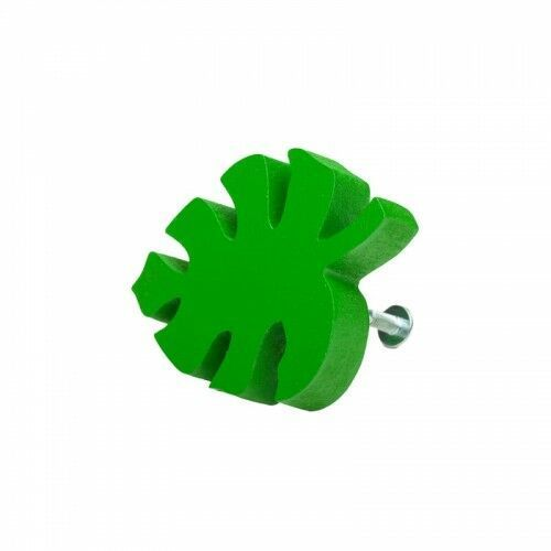 Home-idea Gałka do mebli listek monstery drewniany ciemno-zielony