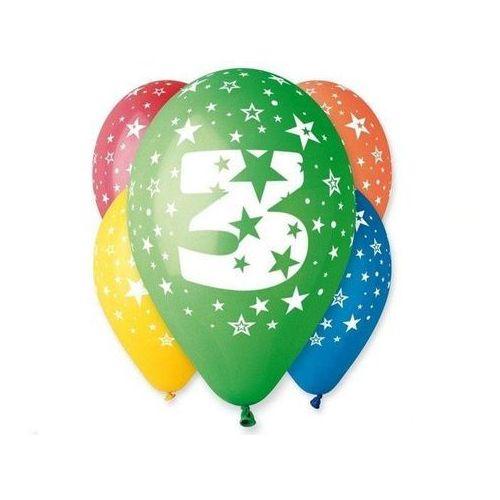 """Godan Balony 12 z nadrukiem """"3"""" pastelowe"""