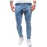 Niebieskie spodnie jeansowe joggery męskie Denley 811, kolor niebieski