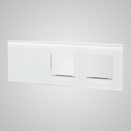 Els elektrotechnika sp. z o.o. sp. k. Touchme duży panel szklany, 1 x łącznik pojedynczy, 2 x ramka, biały tm701728728w