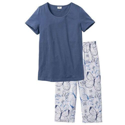 ff3f359851789f Piżama ze spodniami 3/4 indygo - jasnoszary melanż z nadrukiem marki Bonprix