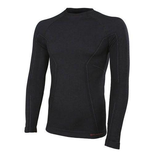 Koszulka męska Active Wool długi rękaw LS12820 Brubeck - Czarny - Czarny z kategorii Pozostała odzież sportowa