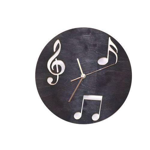 Congee.pl Drewniany zegar na ścianę nuty ze złotymi wskazówkami