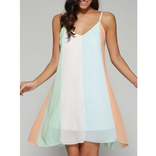 V Neck Spaghetti Strap Chiffon Dress