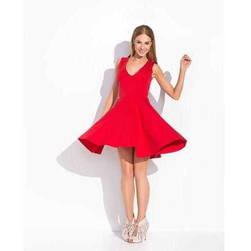 Czerwona Rozkloszowana Sukienka z Dekoltem