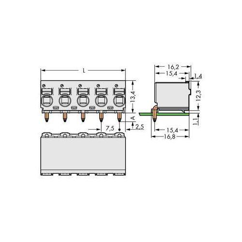 Obudowa żeńska do PCB WAGO 2092-3354, Ilośc pinów 4, Raster: 7.50 mm, 100 szt., 2092-3354