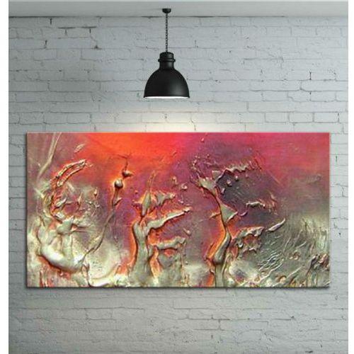 Obraz ręcznie malowany - grube złote faktury przeplatane z fioletem i różem 120x60