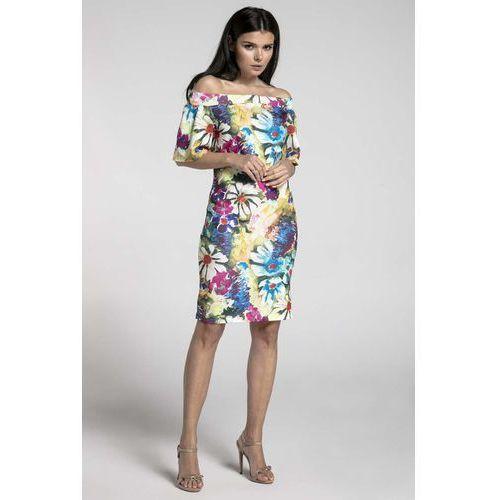 Kwiatowa ołówkowa sukienka przed kolano z dekoltem carmen marki Nommo