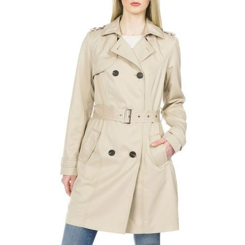 Vila Three Trench Coat Beżowy S, kolor beżowy