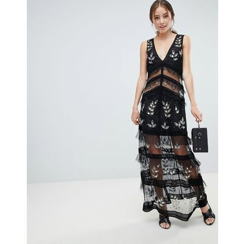 tiered maxi dress with lace detail in black - black marki Miss selfridge