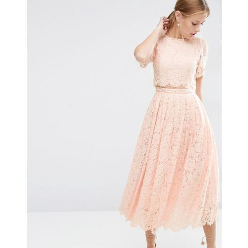 Asos lace crop top midi prom dress - pink