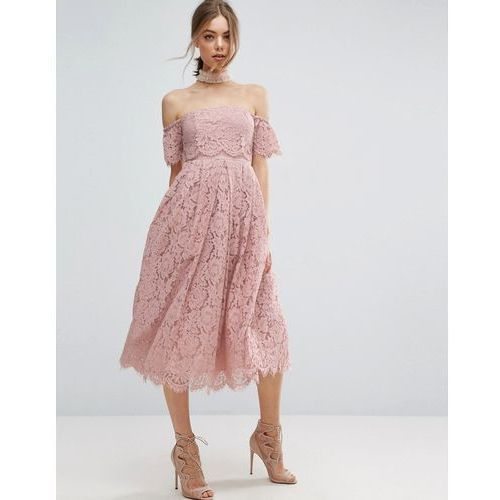 ASOS Off the Shoulder Lace Prom Midi Dress - Pink