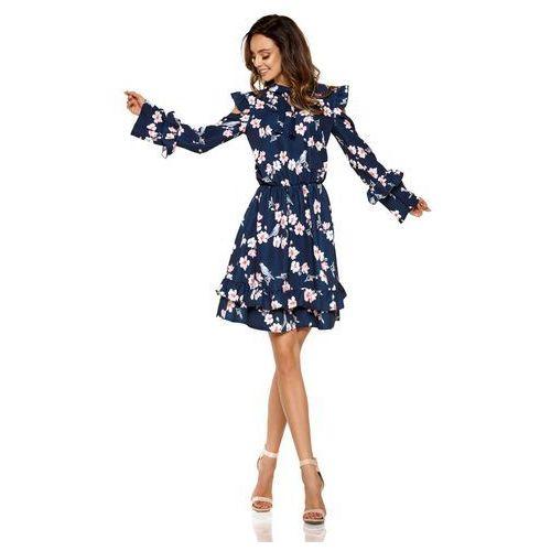 Granatowa wzorzysta sukienka w kwiaty z falbankami typu cold shoulder, Lemoniade, 36-40