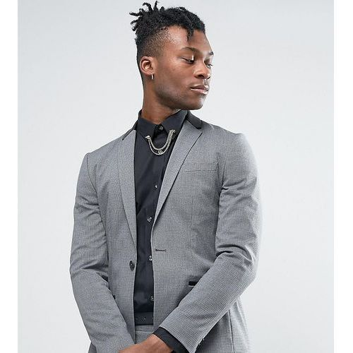 Religion Super Skinny Suit Jacket in Dogstooth with Faux Leather Back Neck - Grey, skóra