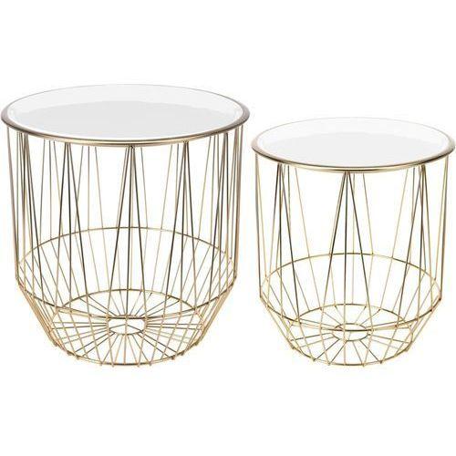 Zestaw stolików Glamour złoty/biały, 127415 (11083251)