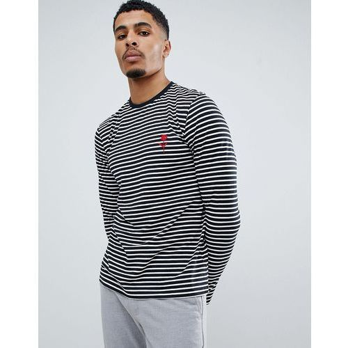 New Look long sleeve t-shirt in black stripe with rose embroidery - Black, w 6 rozmiarach