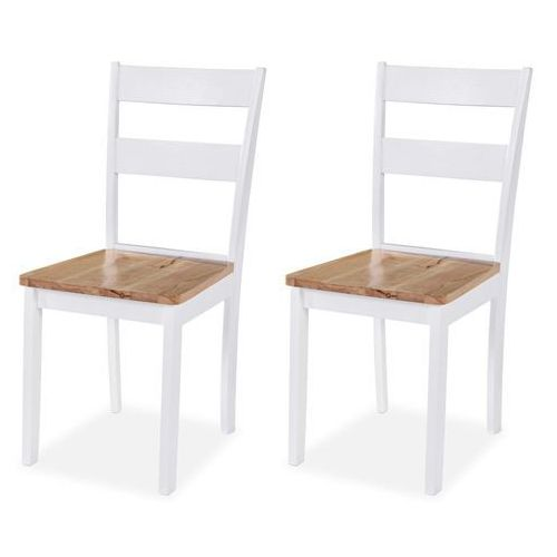 Vidaxl krzesła do jadalni 2 szt., drewno kauczukowca, białe (8718475573326)