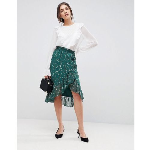 Y.A.S Floral Wrap Skirt With Ruffle - Green