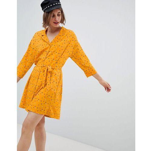 Monki Polka Dot Mini Shirt Dress In Yellow - Orange, kolor pomarańczowy
