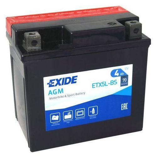 Akumulator motocyklowy EXIDE ETX5L-BS/ YTX5L-BS 12V 4A 70A EN P+
