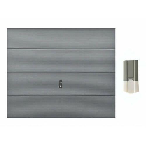 Vente-unique Zestaw brama garażowa segmentowa z przetłoczeniami cadillo szara + napęd eco line