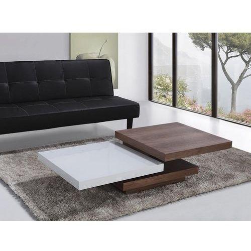 Beliani Nowoczesny stolik kawowy - 105x70cm - ława biało brązowa aveiro
