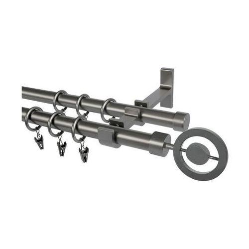 Karnisz POPOLO 160 cm podwójny grafitowy 19 mm metalowy (5907800356618)