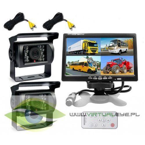 OKAZJA - Virtualeye 2x kamera cofania monitor 7 cali podziałka quad ir