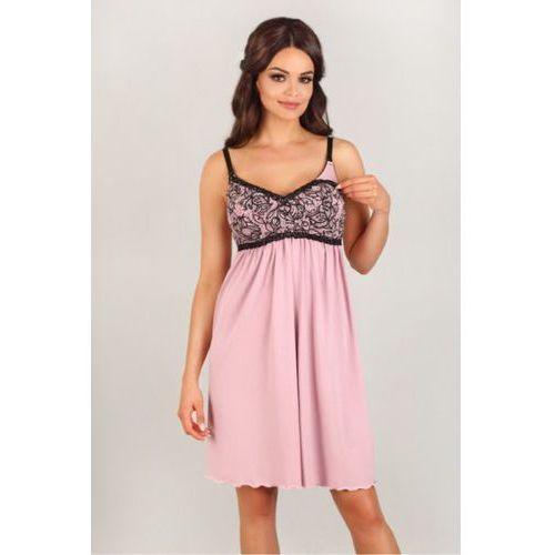 Koszula Nocna Model 3007 Pink/Black, kolor różowy